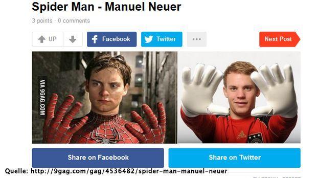 manuel-neuer-socialmedia-star-06-9gag-com - Bildquelle: http://9gag.com/gag/4536482/spider-man-manuel-neuer
