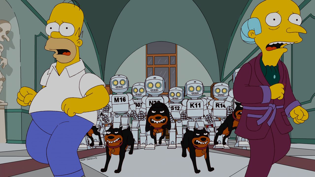 Mr. Burns (r.) plant, seine Angestellten durch Roboter zu ersetzen, damit das Kernkraftwerk effektiver läuft. Die einzige menschliche Arbeitskraft,... - Bildquelle: und TM Twentieth Century Fox Film Corporation - Alle Rechte vorbehalten