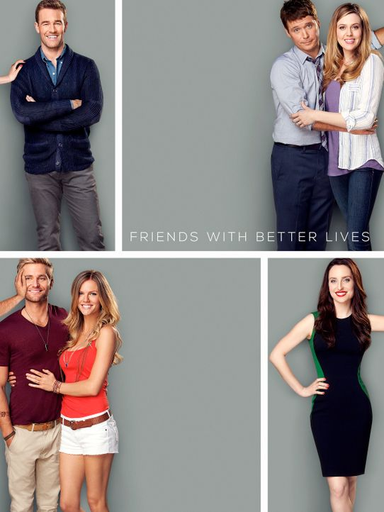(1. Staffel) - Friends with Better Lives: Will (James Van Der Beek, oben l.), Kate (Zoe Lister Jones, unten r.), Andi (Majandra Delfino, oben r.), B... - Bildquelle: 2013 CBS Broadcasting, Inc. All Rights Reserved.