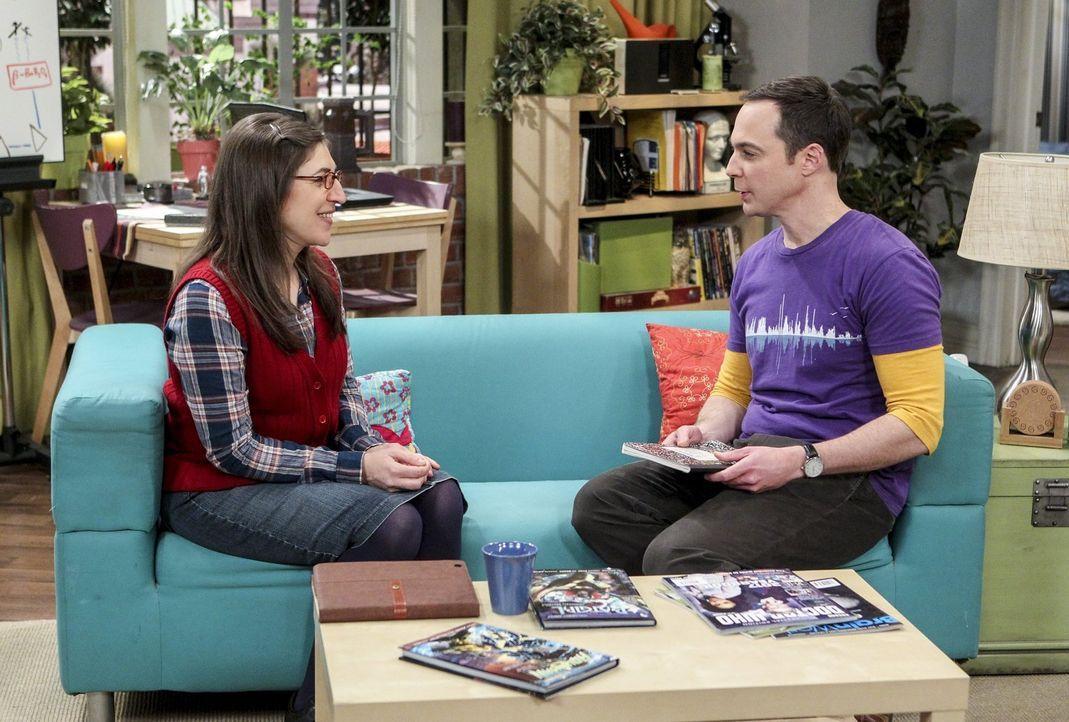 Geballte Intelligenz: Sheldon (Jim Parsons, r.) und Amy (Mayim Bialik, l.) ... - Bildquelle: 2016 Warner Brothers