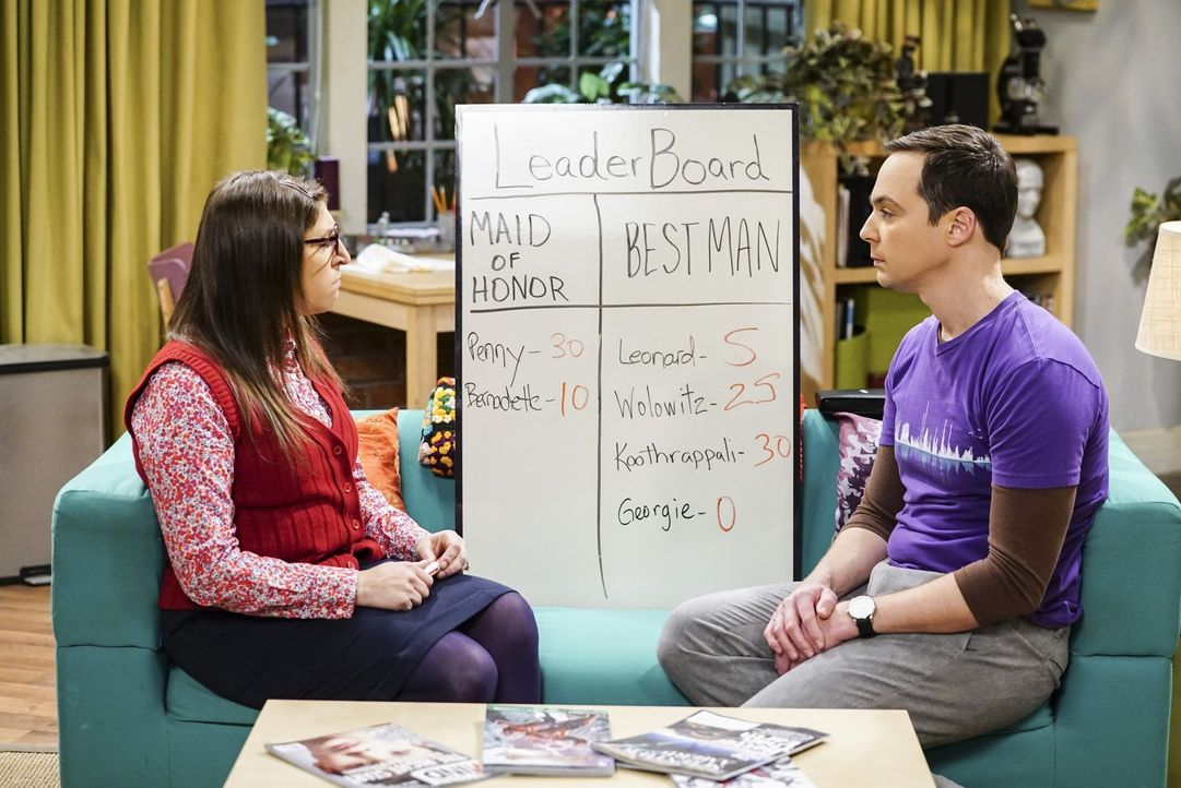 Als sich Amy (Mayim Bialik, l.) und Sheldon (Jim Parsons, r.) schwertun, die richtigen Trauzeugen auszuwählen, entschließen sie sich dazu, ihre Freu... - Bildquelle: Warner Bros. Television
