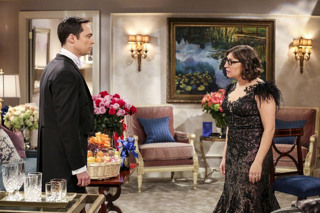 Sheldon Cooper (Jim Parsons, l.); Amy Farrah Fowler (Mayim Bialik, r.) - Bildquelle: Michael Yarish 2019 CBS Broadcasting, Inc. All Rights Reserved / Michael Yarish