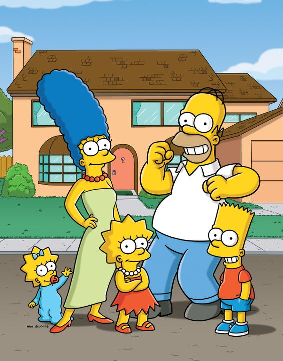 (26. Staffel) - Eine etwas andere Familie: Maggie (l.), Marge (2.v.l.), Homer (2.v.r.), Bart (r.) und Lisa Simpson (M.) ... - Bildquelle: 2014 Fox and its related entities. All rights reserved