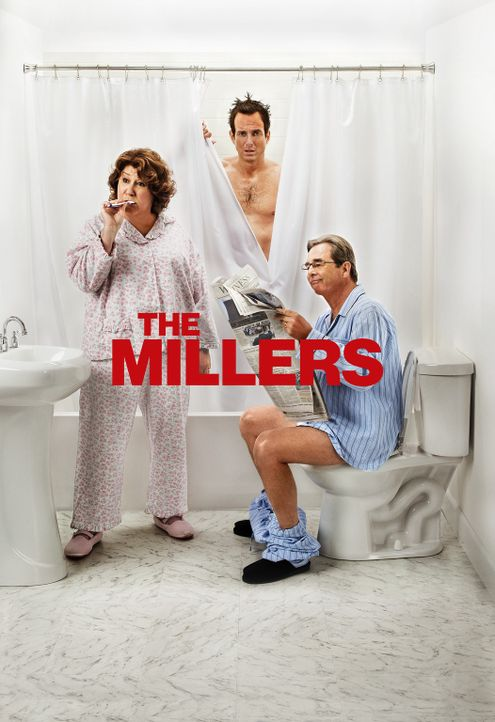 (2. Staffel) - The Millers - Eine Familie im Ausnahmezustand: Nathan (Will Arnett, M.), Carol (Margo Martindale, l.) und Tom (Beau Bridges, r.) ... - Bildquelle: 2013 CBS Broadcasting, Inc. All Rights Reserved.