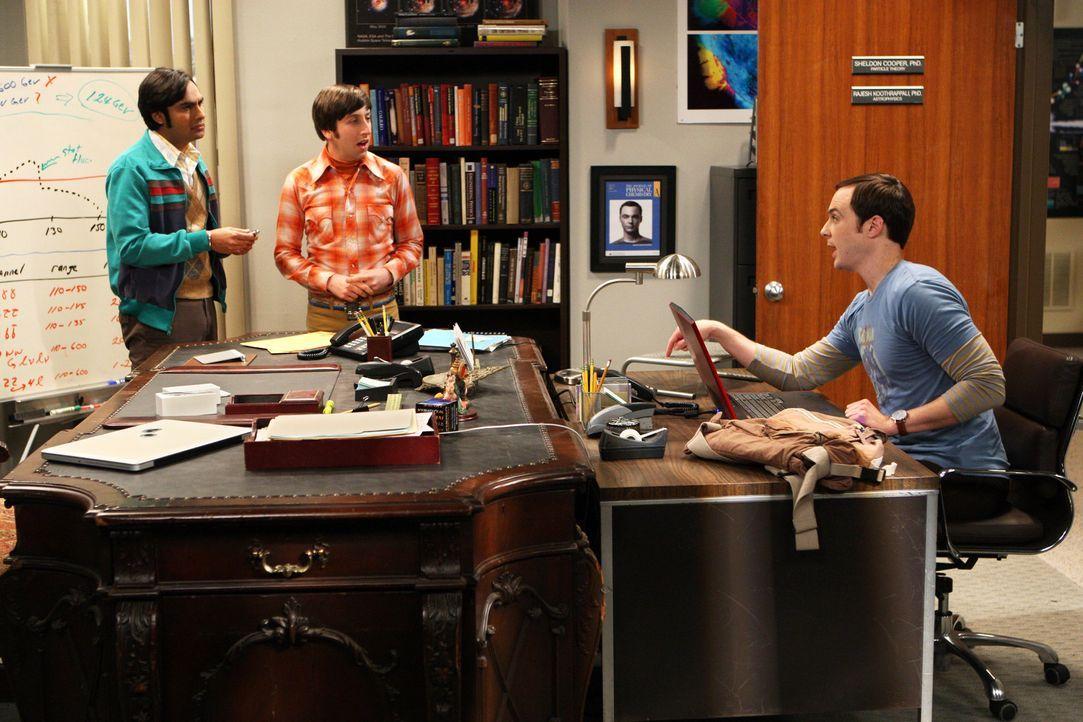 Sind sich mal wieder nicht einig: Sheldon (Jim Parsons, r.), Rajesh (Kunal Nayyar, l.) und Howard (Simon Helberg, M.) ... - Bildquelle: Warner Bros. Television