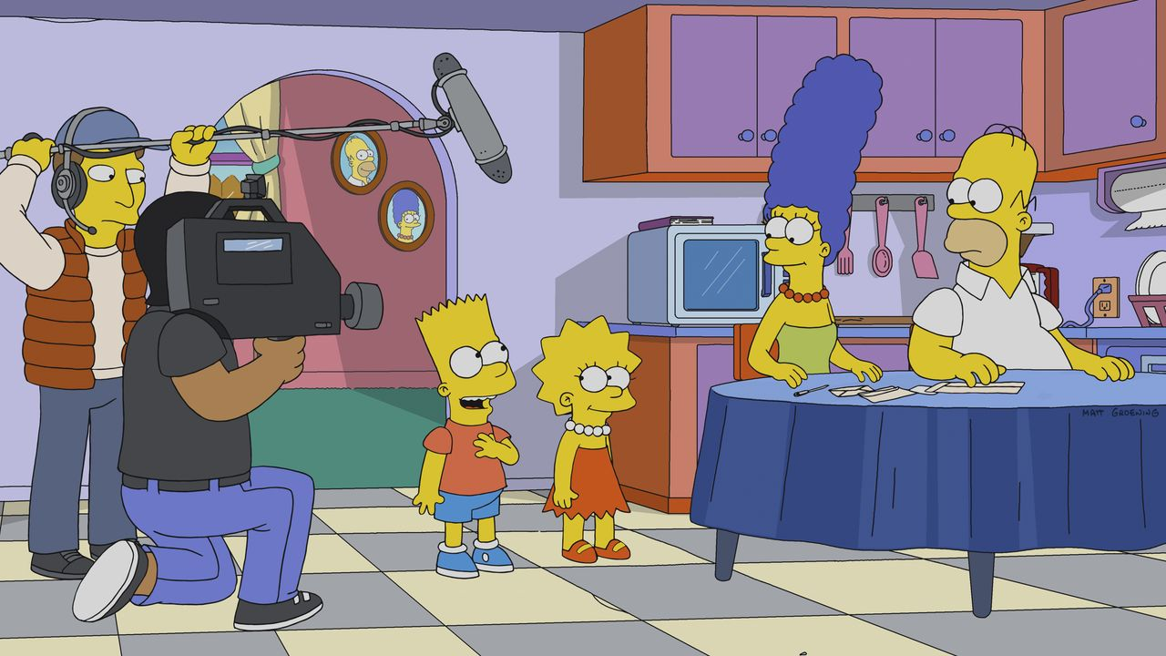Bart (3.v.l.); Lisa (3.v.r.); Marge (2.v.r.); Homer (r.) - Bildquelle: 2018-2019 Fox and its related entities.  All rights reserved.