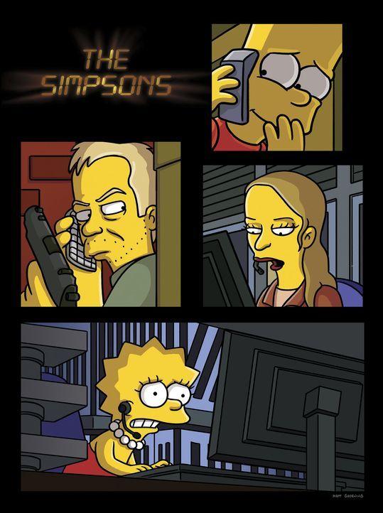"""Ganz im Stile der Kultserie """"24"""" präsentieren sich Bart und Lisa ... - Bildquelle: und TM Twentieth Century Fox Film Corporation - Alle Rechte vorbehalten"""