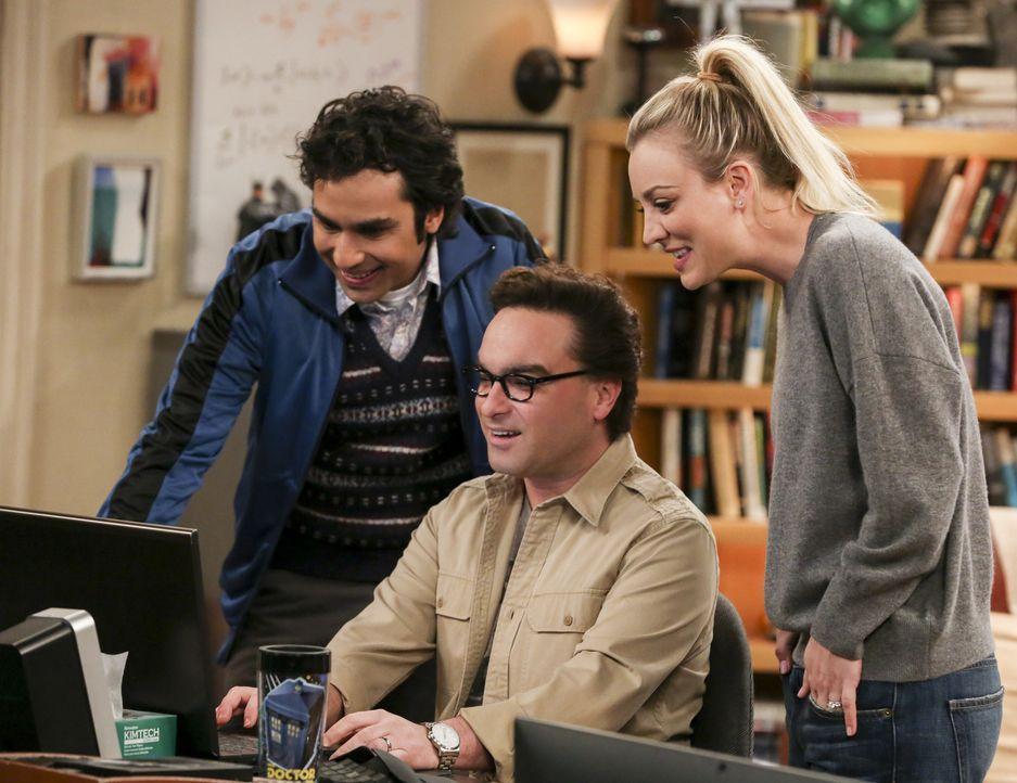 Suchen nach dem perfekten Alternativort für Sheldon und Amys Hochzeit: Raj (Kunal Nayyar, l.), Leonard (Johnny Galecki, M.) und Penny (Kaley Cuoco,... - Bildquelle: Warner Bros. Television