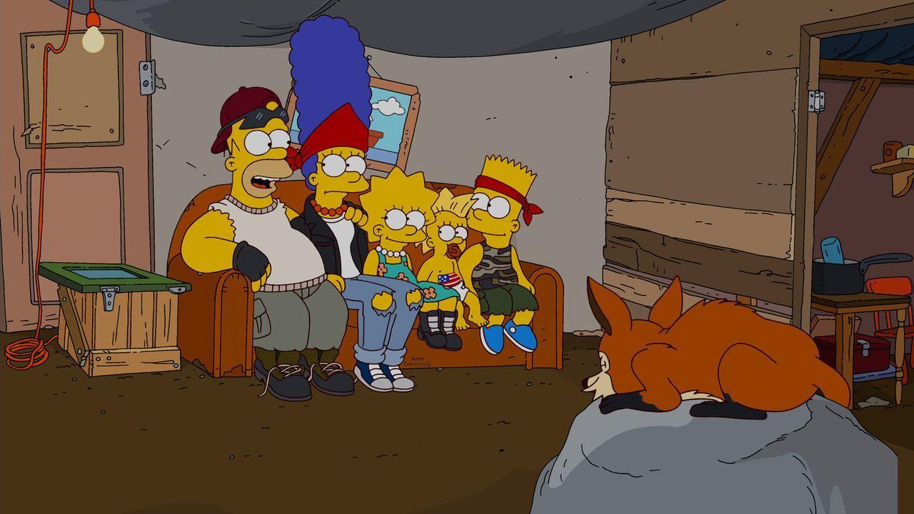 Die Bürger von Springfield haben beschlossen, Homer (l.), Marge (2.v.l.), Bart (r.), Lisa (M.) und Maggie (2.v.r.) aus der Stadt zu verbannen, da s... - Bildquelle: und TM Twentieth Century Fox Film Corporation - Alle Rechte vorbehalten