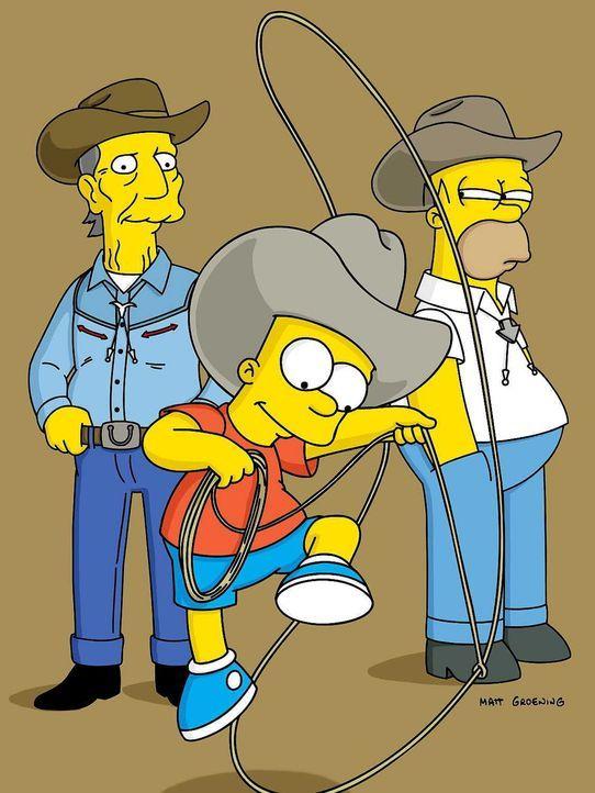 Bart (M.) freundet sich mit Buck McCoy (l.), einem ehemaligen Filmstar, an. Sehr zu Homers (r.) Missfallen wird der alte Cowboy Barts neues Idol. - Bildquelle: TM Twenthieth Century Fox Film Corporation - Alle Rechte vorbehalten