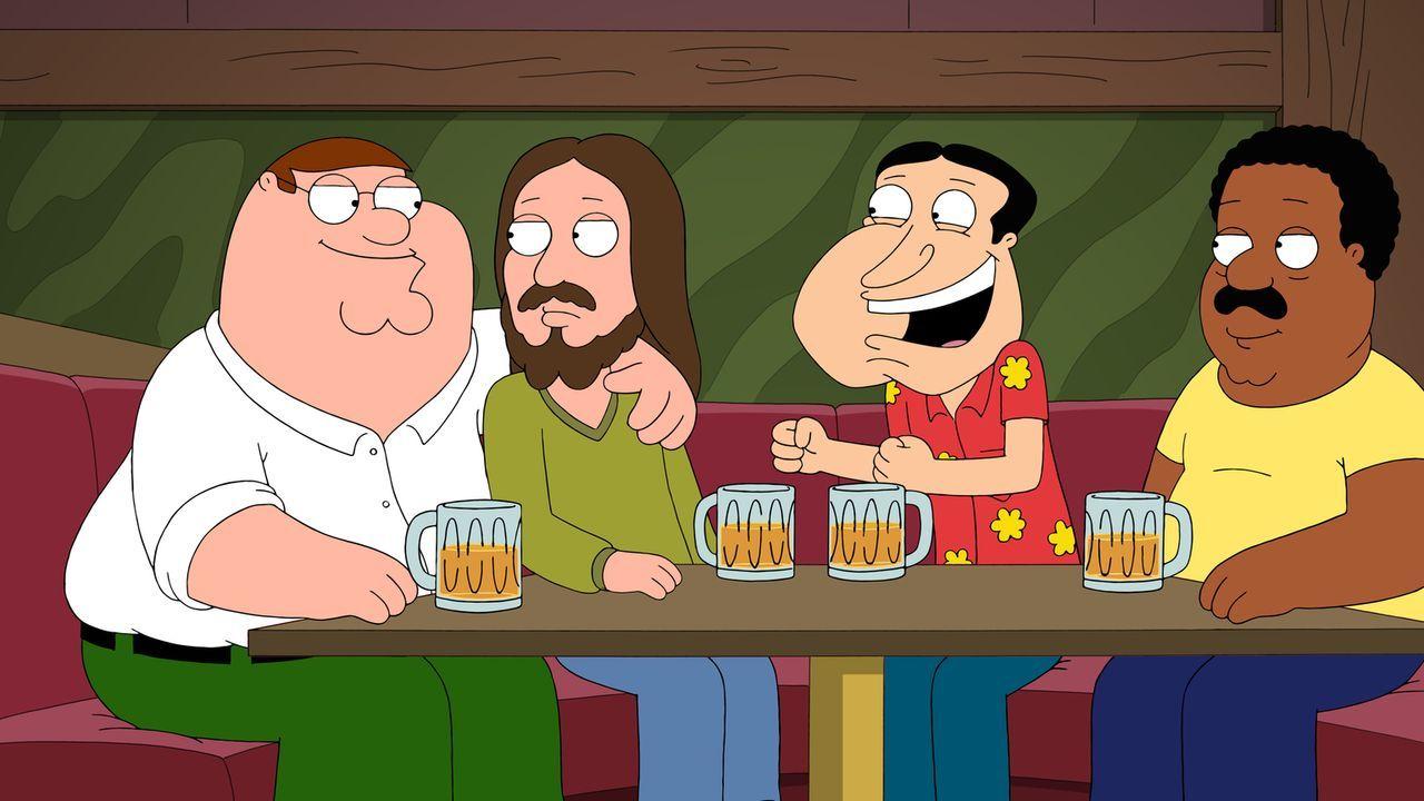 Die Planung für Jesus' (2.v.l.) Geburtstagsparty ist in vollem Gange. Peter (l.), Quagmire (2.v.r.) und Cleveland (r.) können nicht fassen, welches... - Bildquelle: 2015-2016 Fox and its related entities. All rights reserved.