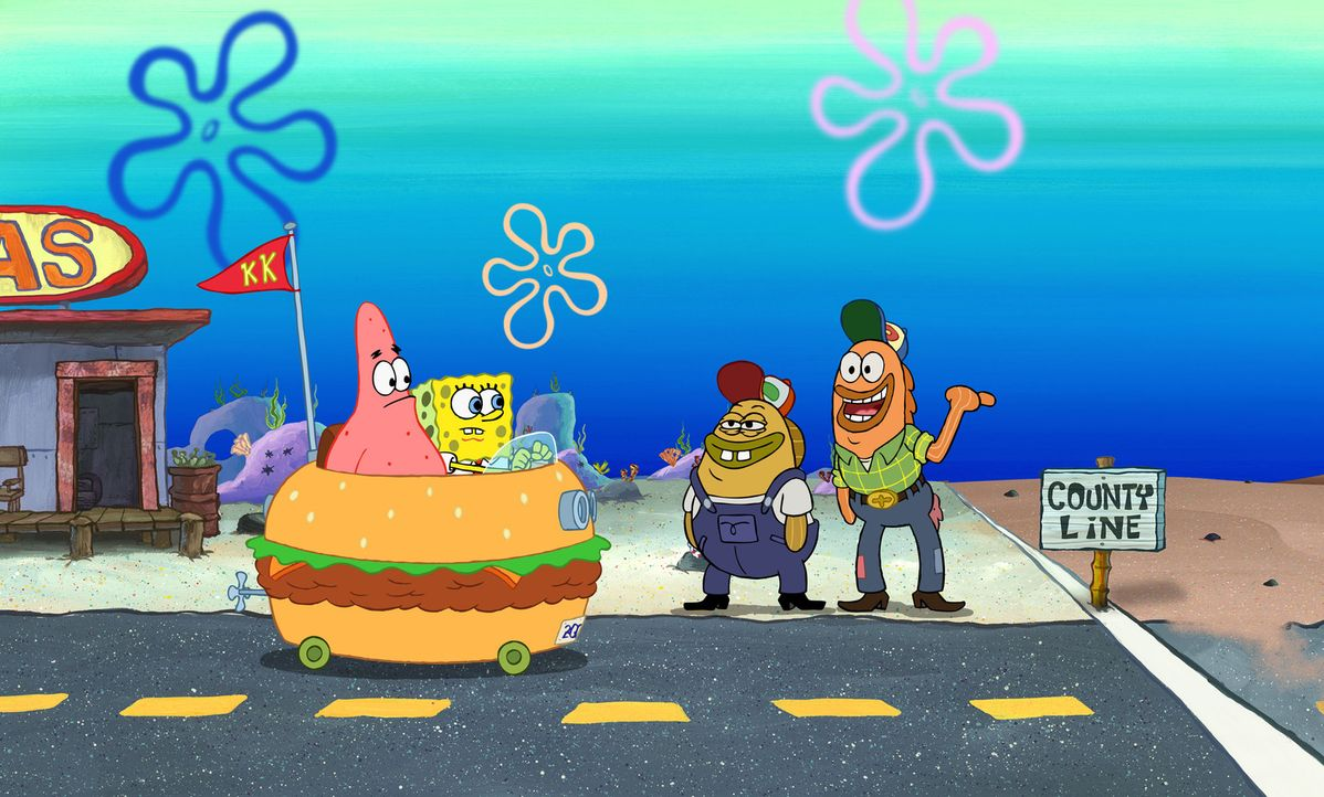 Werden Spongebob (2.v.l.) und Patrick (l.) es tatsächlich schaffen, den entführten Mr. Krabs zu befreien? - Bildquelle: Copyright   2004 PARAMOUNT PICTURES and VIACOM INTERNATIONAL INC. All Rights Reserved. NICKELODEON, SPONGEBOB SQUAREPANTS and all related titles, logo
