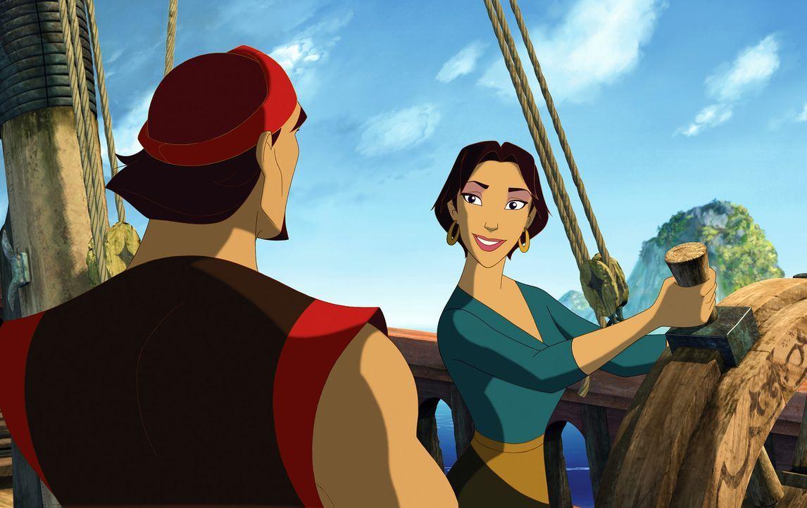Sinbad, Marina und der tollpatschige Hund Spike machen sich mutig auf die waghalsige Reise, auf der mystische Monster, tosende Meere und halsbrecher... - Bildquelle: DreamWorks SKG