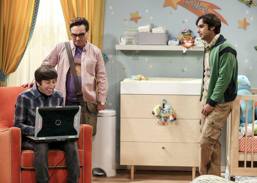Nachdem (v.l.n.r) Howard (Simon Helberg), Leonard (Johnny Galecki) und Raj (Kunal Nayyar) vor Jahren in Bitcoins investiert haben, wollen sie jetzt... - Bildquelle: Warner Bros. Television