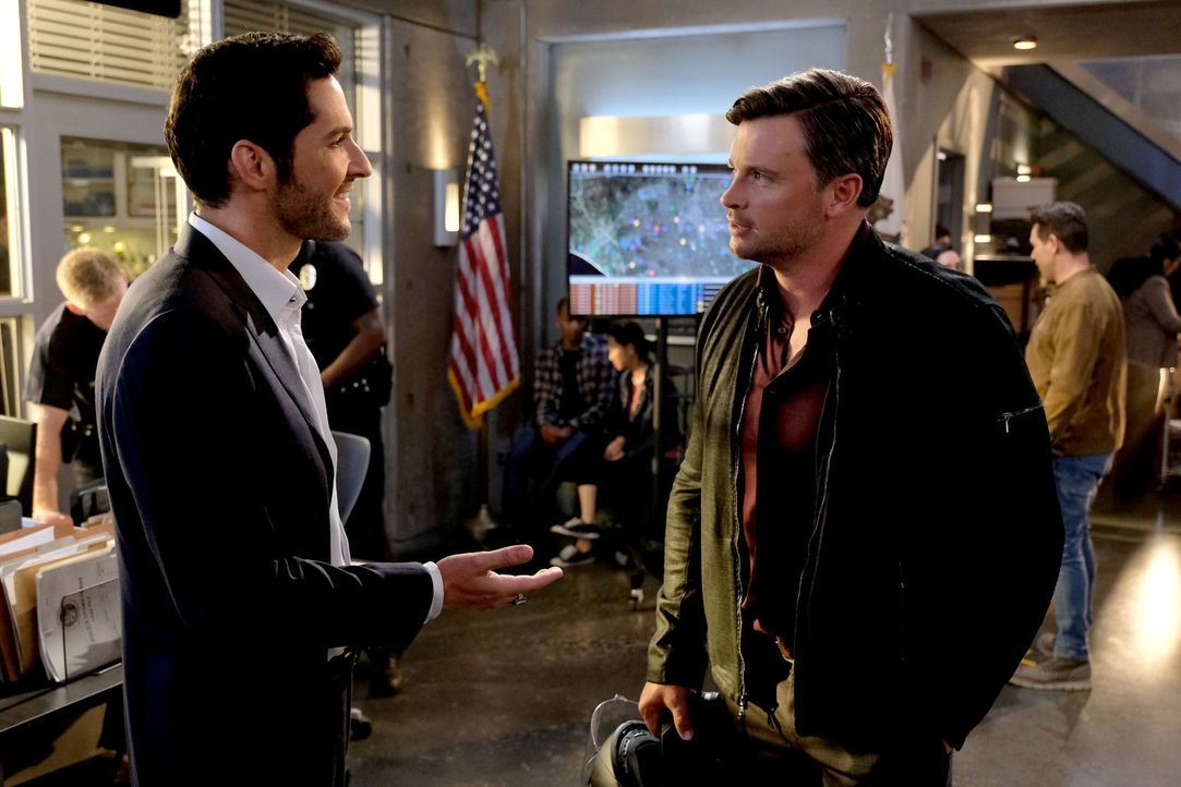 Lucifer (Tom Ellis, l.); Marcus Pierrce (Tom Welling, r.) - Bildquelle: 2017 Fox Broadcasting Co.