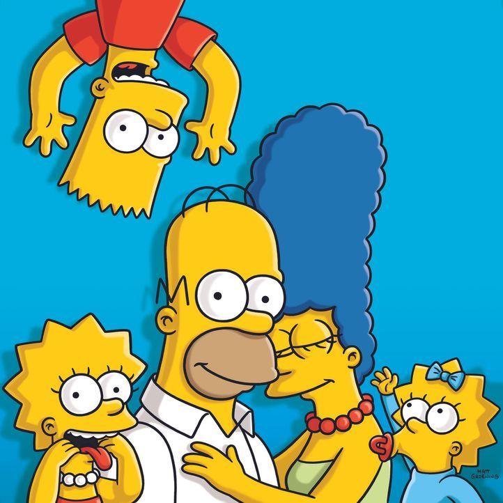 (24. Staffel) - Eine fast ganz normale Familie: Lisa (l.), Marge (2.v.r.), Maggie (r.), Homer (2.v.l.) und Bart (oben) ... - Bildquelle: und TM Twentieth Century Fox Film Corporation - Alle Rechte vorbehalten