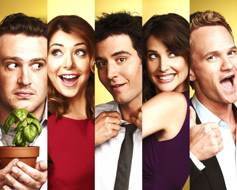 (6. Staffel) - Ein Blick zurück in die wilden Jahre von Ted (Josh Radnor, M.), Marshall (Jason Segel, l.), Barney (Neil Patrick Harris, r.), Lily (A... - Bildquelle: 20th Century Fox International Television