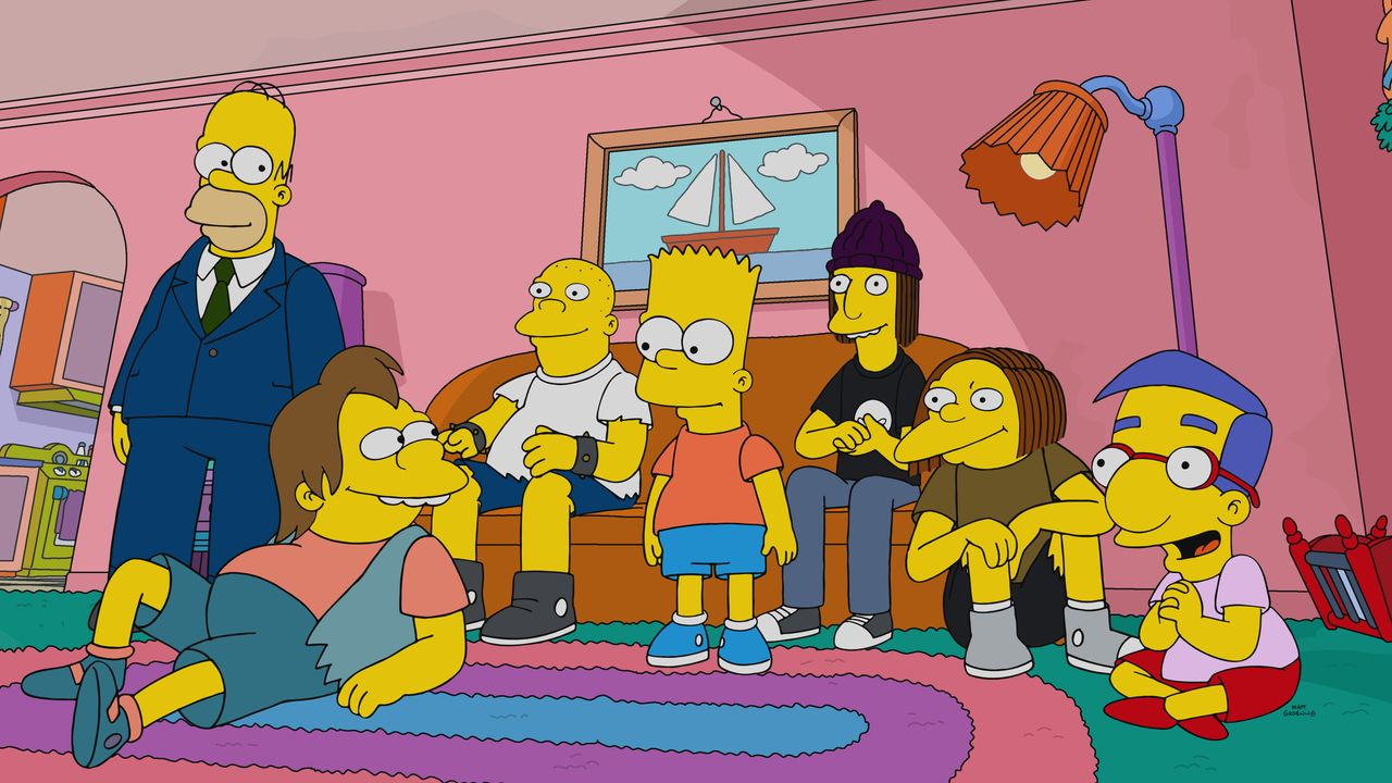 (v.l.n.r.) Homer; Nelson; Kearney; Bart; Jimbo; Dolph; Milhouse - Bildquelle: 2020 by Twentieth Century Fox Film Corporation.