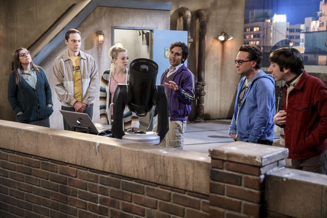 Noch ahnen (v.l.n.r.) Amy (Mayim Bialik), Sheldon (Jim Parsons), Penny (Kaley Cuoco), Raj (Kunal Nayyar), Leonard (Johnny Galecki) und Howard (Simon... - Bildquelle: Warner Bros. Television