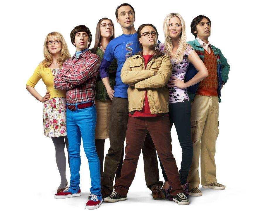 (7. Staffel) - Eine ganz besondere Truppe: (v.l.n.r.) Bernadette (Melissa Rauch), Howard (Simon Helberg), Amy (Mayim Bialik), Sheldon (Jim Parsons),... - Bildquelle: Warner Bros. Television