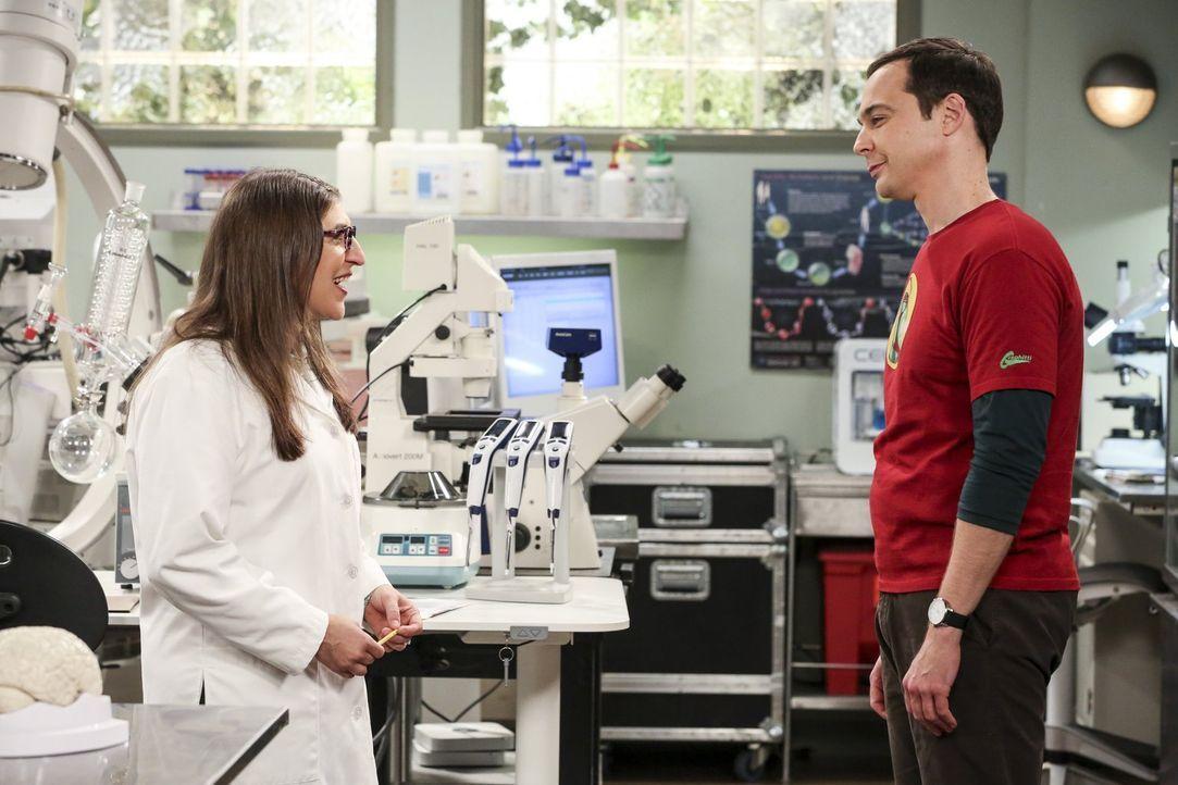 Seitdem Amy (Mayim Bialik, l.) mit Howard zusammenarbeitet, stattet Sheldon (Jim Parsons, r.) ihr im Labor einen Besuch ab. Warum nur? - Bildquelle: Warner Bros. Television
