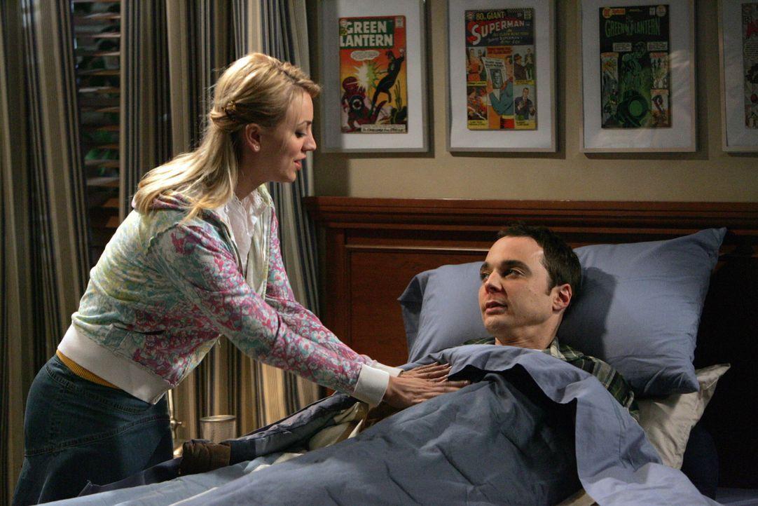 Sheldon (Jim Parsons, r.), der völlig hilflos ist, taucht in Pennys Restaurant auf, weil er Suppe will und Penny (Kaley Cuoco, l.) nimmt sich des K... - Bildquelle: Warner Bros. Television