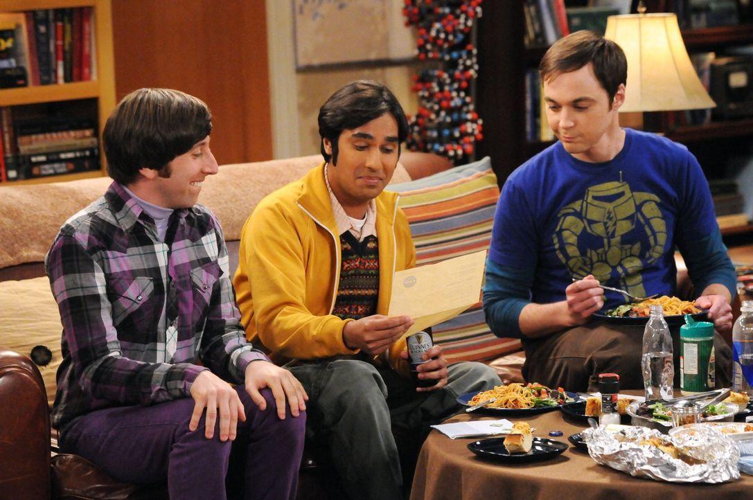 Jeder für sich hat so seine ganz eigenen Probleme: Sheldon (Jim Parsons, r.), Rajesh (Kunal Nayyar, M.) und Howard (Simon Helberg, l.) ... - Bildquelle: Warner Bros. Television