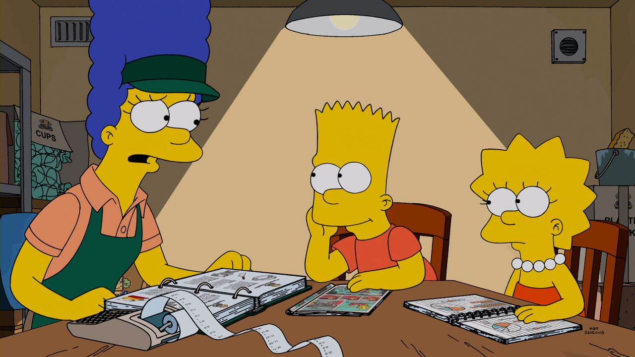 Hat Marge (l.) mit ihrem Sandwichladen Erfolg? Bart (M.) und Lisa (r.) helfen ihr bei den Berechnungen ... - Bildquelle: 2014 Twentieth Century Fox Film Corporation. All rights reserved.