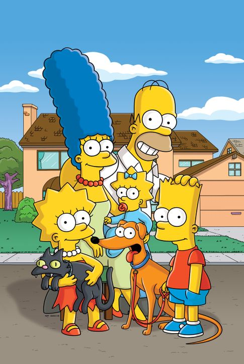 (26. Staffel) - Eine fast ganz normale Familie: Lisa (l.), Marge (2.v.l.), Maggie (M.), Homer (2.v.r.) und Bart (r.) ... - Bildquelle: 2014 Fox and its related entities. All rights reserved