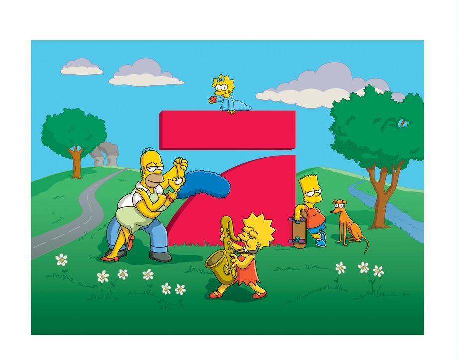Die Simpsons - Folge 500: Homer (l.), Marge (2.v.l.), Lisa (vorne), Maggie (hinten) und Bart (r.) ... - Bildquelle: ProSieben