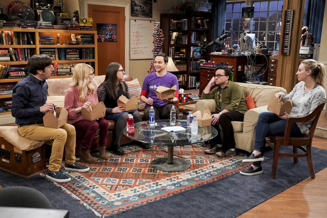 (v.l.n.r.) Howard Wolowitz (Simon Helberg); Berndette Rostenkowski (Melissa Rauch); Amy Farrah Fowler (Mayim Bialik); Sheldon Cooper (Jim Parsons);... - Bildquelle: Sonja Flemming 2019 CBS Broadcasting, Inc. All Rights Reserved / Sonja Flemming