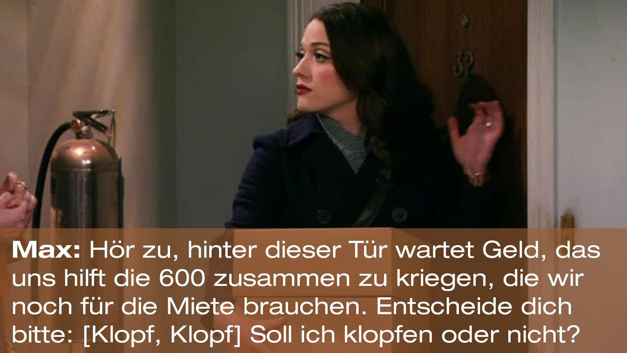 2-broke-girls-zitat-quote-staffel2-episode12-breite-weihnachten-max-klopfen-warnerpng 1600 x 900 - Bildquelle: Warner Bros. International Television