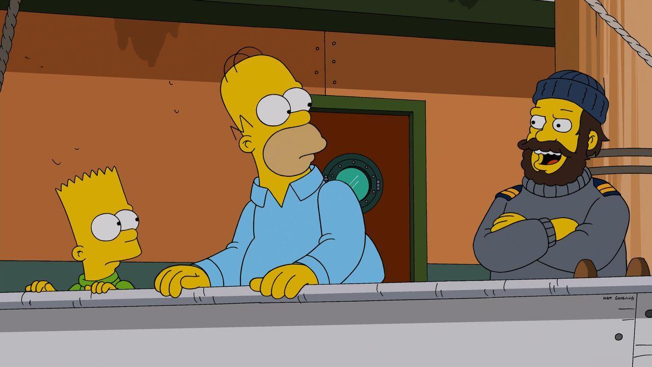 Kann der Schiffskapitän (r.) Homer (M.) und Bart (l.) helfen, ihre Beziehung zu retten? - Bildquelle: 2014 Twentieth Century Fox Film Corporation. All rights reserved.
