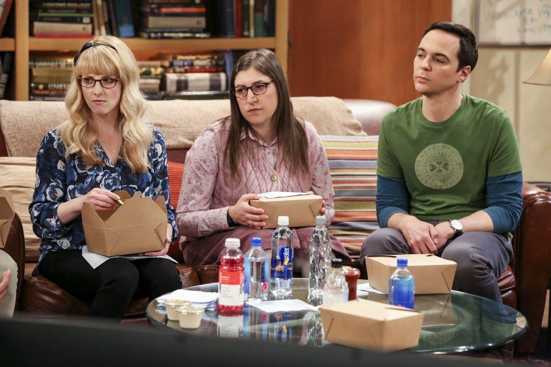 (v.l.n.r.) Bernadette (Melissa Rauch); Amy Farrah Fowler (Mayim Bialik); Sheldon Cooper (Jim Parsons) - Bildquelle: Michael Yarish 2019 WBEI. All rights reserved. / Michael Yarish