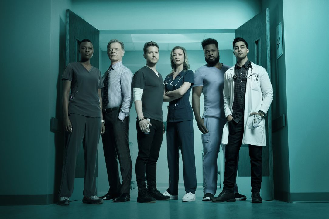 (2. Staffel) - (v.l.n.r.) Dr. Mina Okafor (Shaunette Renée Wilson); Dr. Randolph Bell (Bruce Greenwood); Dr. Conrad Hawkins (Matt Czuchry); Nicolett... - Bildquelle: Miranda Penn Turin 2018-2019 Twentieth Century Fox Film Corporation.  All rights reserved. / Miranda Penn Turin