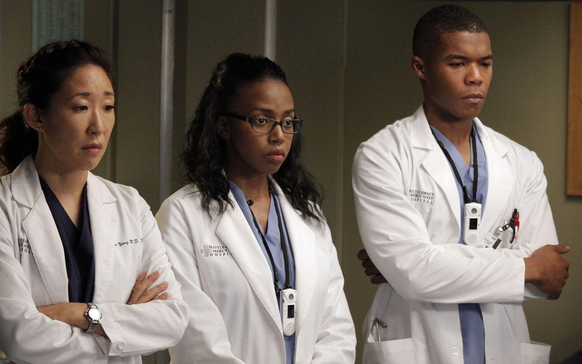 Geben alles, um Leben zu retten: Cristina (Sandra Oh, l.), Stephanie (Jerrika Hinton, M.) und Shane (Gaius Charles, r.) ... - Bildquelle: ABC Studios