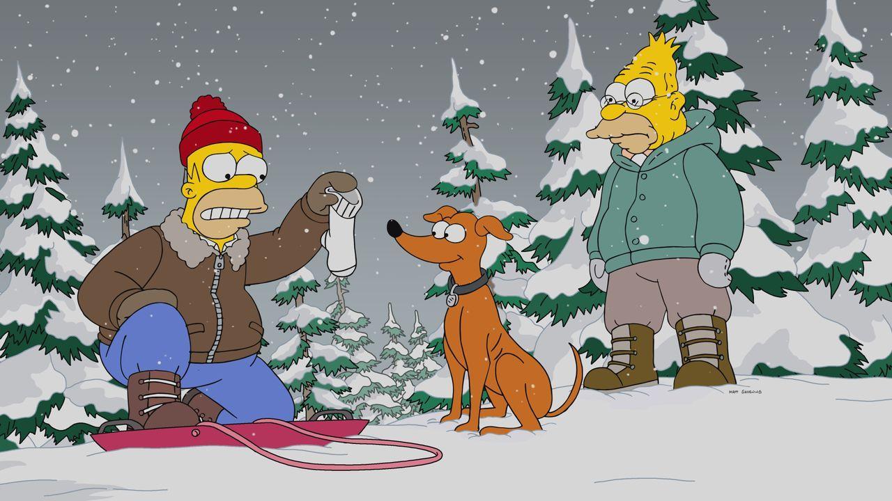 Als Bart plötzlich verschwindet, organisieren Homer (l.), Knecht Ruprecht (M.) und Grandpa (r.) eine große Suchaktion, an der auch eine Gruppe Häftl... - Bildquelle: 2017-2018 Fox and its related entities.  All rights reserved.