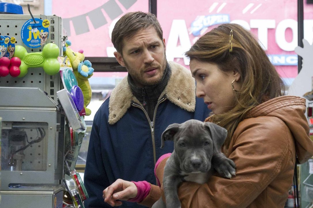 Als Bob Saginowski (Tom Hardy, l.) die Bekanntschaft mit Nadia (Noomi Rapace, r.) macht und einen verwundeten Pitbull-Welpen in einer Mülltonne find... - Bildquelle: 2014 Twentieth Century Fox Film Corporation.  All rights reserved.