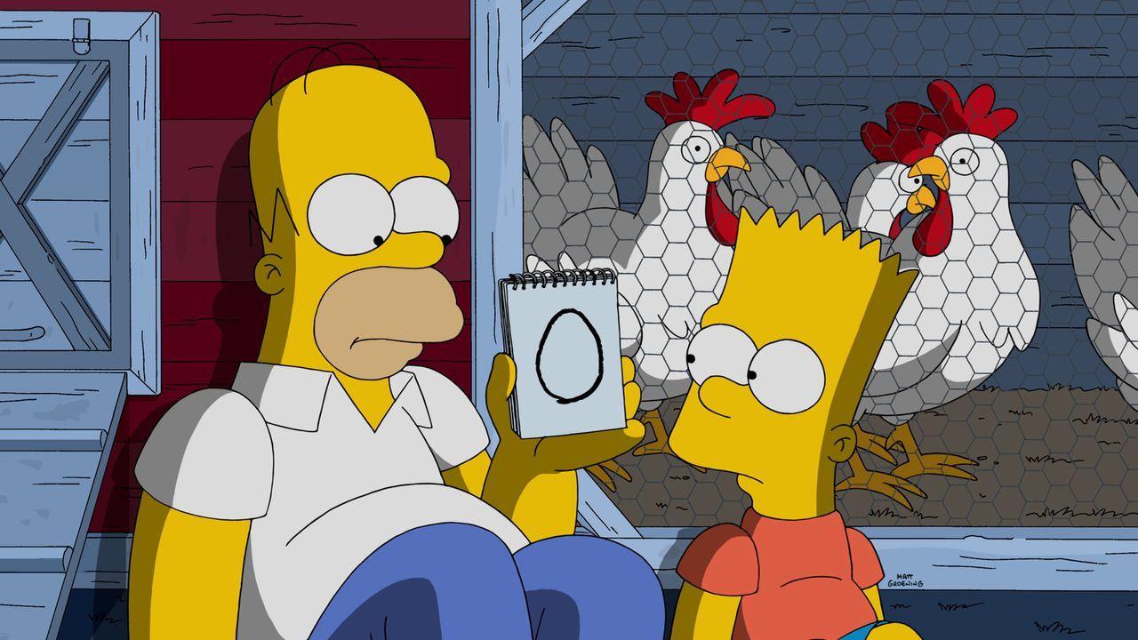 Homer (l.) ist hat bei den Flanders ganz wunderbar orange Frühstückseier gesehen. Um selbst in den Genuss davon zu kommen, geht er mit Bart (r.) auf... - Bildquelle: 2015 Fox and its related entities.  All rights reserved.