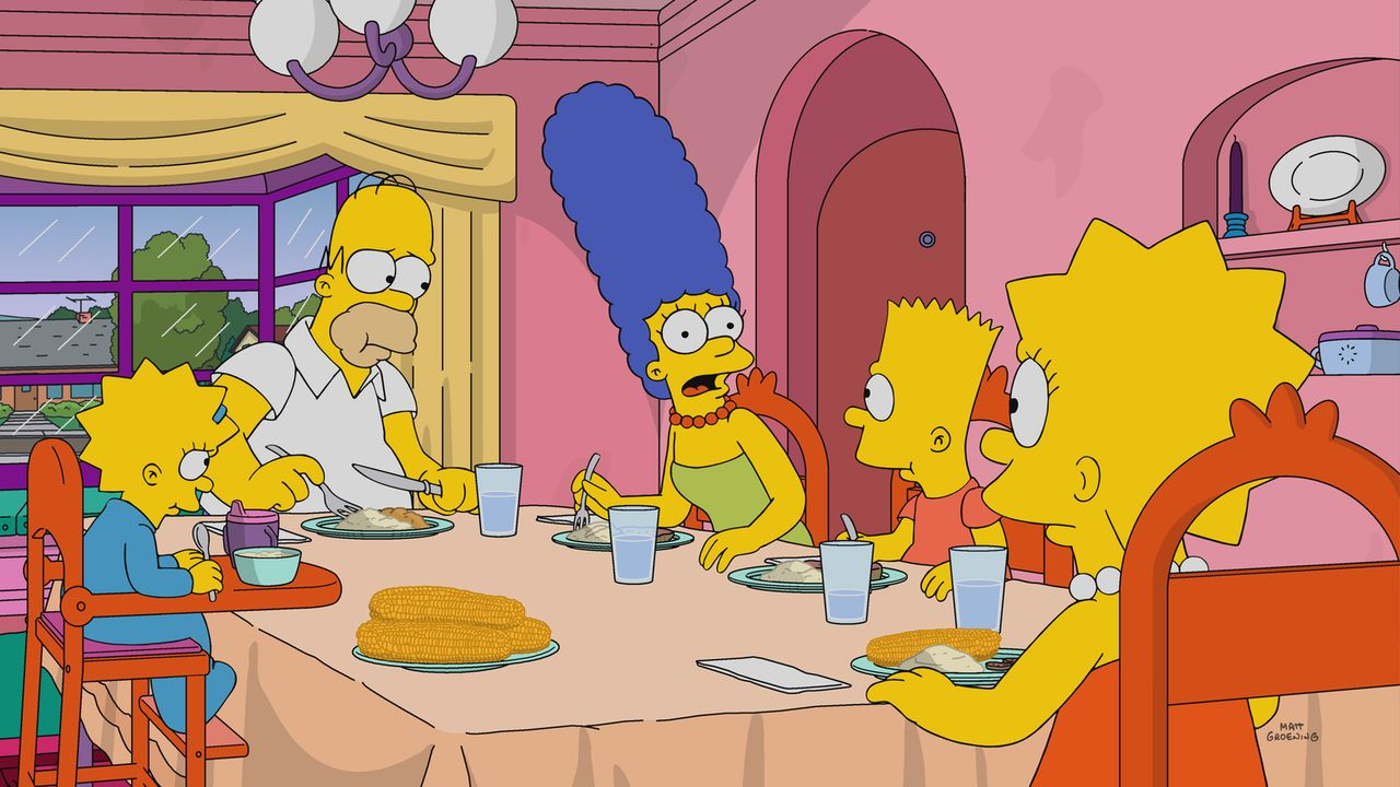 (v.l.n.r.) Maggie; Homer; Marge; Bart; Lisa - Bildquelle: 2017-2018 Fox and its related entities.  All rights reserved.