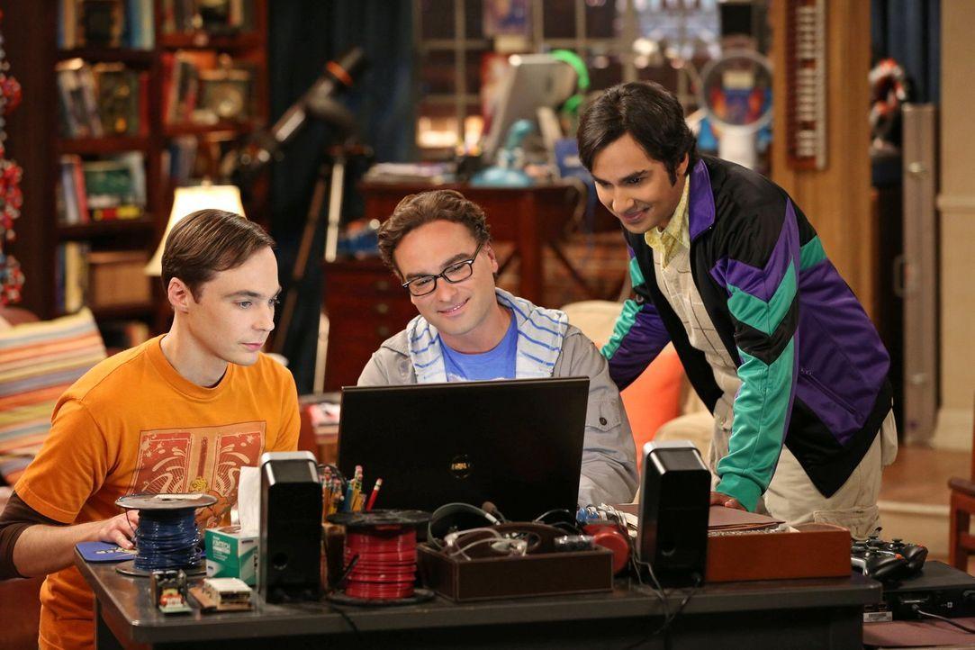 Werden sie Stuart in ihre Gemeinschaft aufnehmen? Sheldon (Jim Parsons, l.), Leonard (Johnny Galecki, M.) und Raj (Kunal Nayyar, r.) ... - Bildquelle: Warner Bros. Television