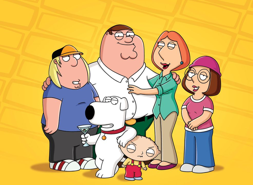 Die Griffins aus Quahog, Rhode Island: Chris (l), Peter (2.v.l.), Lois (2.v.r.), Meg (r.), Brian (vorne l.) und Stewie (vorne r.). - Bildquelle: 2010 Twentieth Century Fox Film Corporation. All rights reserved.