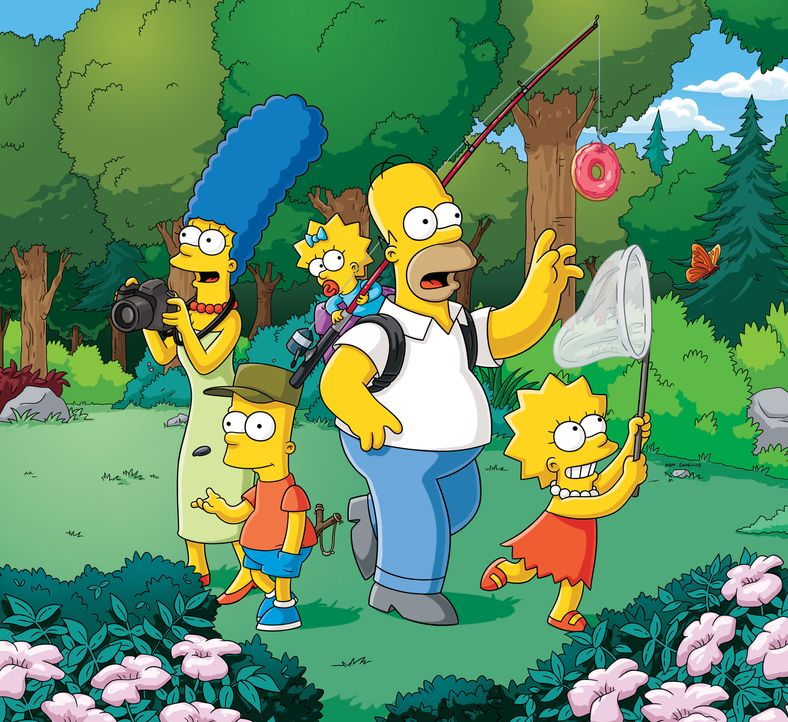 (26. Staffel) - Eine fast normale Familie: Lisa (r.), Marge (l.), Maggie (M.), Homer (2.v.r.) und Bart (2.v.l.) ... - Bildquelle: 2014 Fox and its related entities. All rights reserved