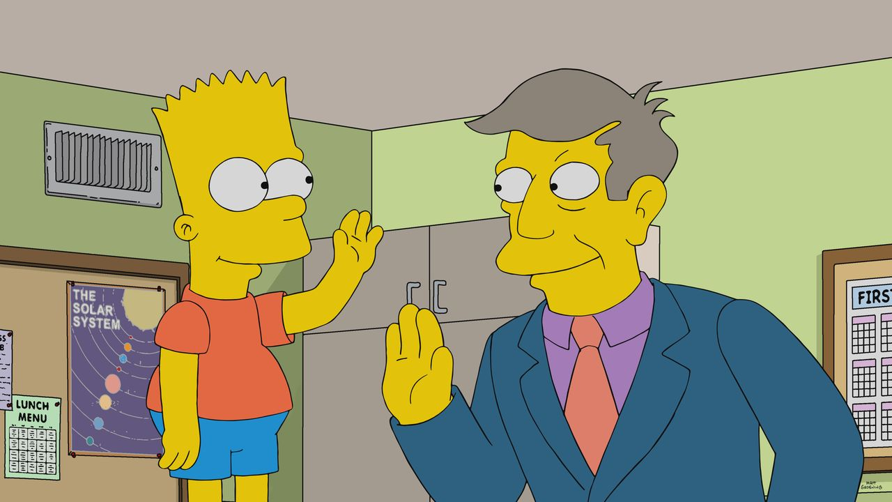 Bart (l.); Rektor Skinner (r.) - Bildquelle: 2020 by Twentieth Century Fox Film Corporation.