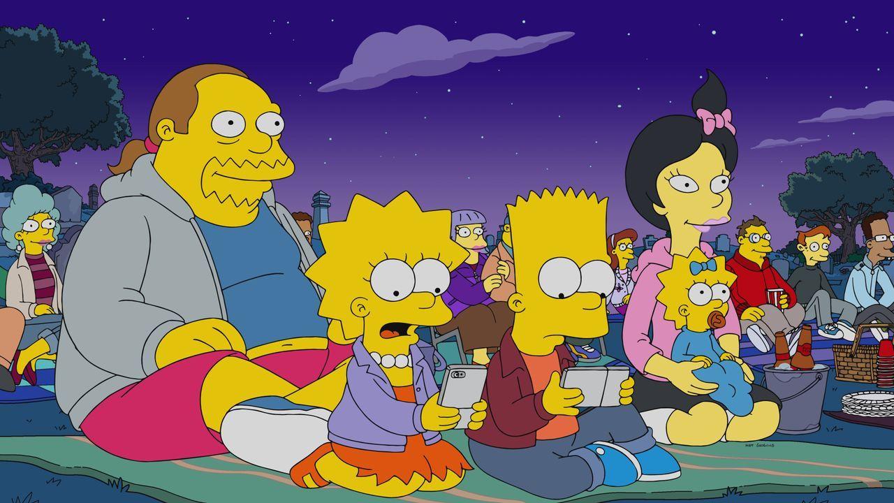 (v.l.n.r.) Jeff; Lisa; Bart; Kumiko; Maggie - Bildquelle: 2020 by Twentieth Century Fox Film Corporation.