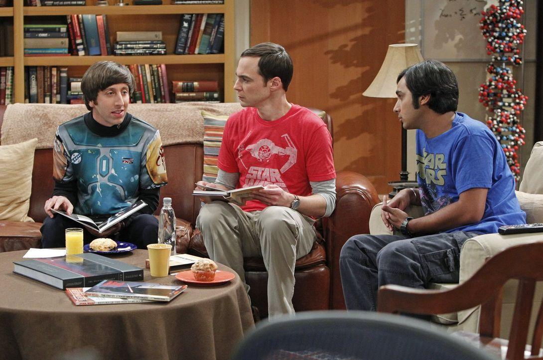 Der 4. Mai, der neuerdings inoffizielle Star Wars Feiertag, steht bevor und Sheldon (Jim Parsons, M.), Raj (Kunal Nayyar, r.) und Howard (Simon Helb... - Bildquelle: Warner Brothers