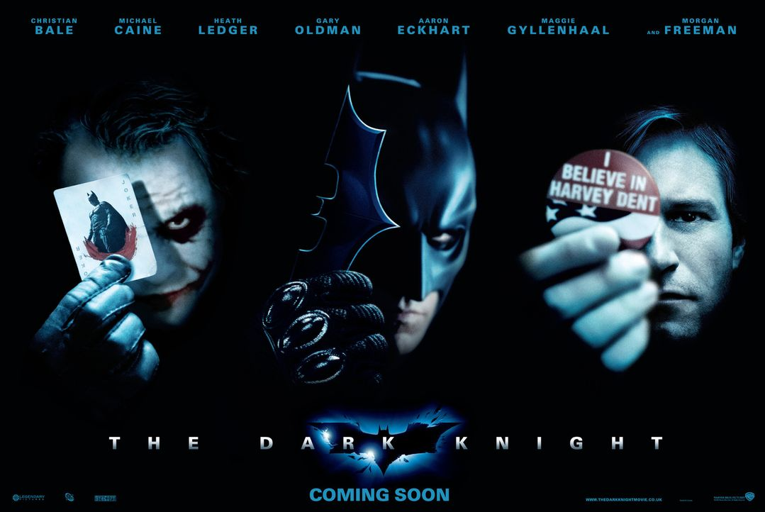 THE DARK KNIGHT - Plakatmotiv - mit (v.l.n.r.) Heath Ledger, Christian Bale und Aaron Eckhart - Bildquelle: Warner Bros.