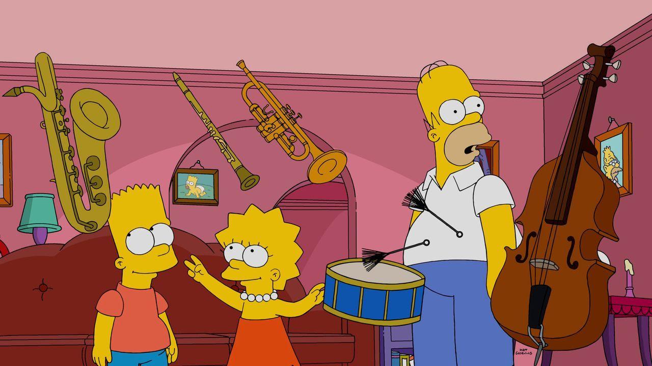 Lisa (M.), Bart (l.) und Milhouse bekommen durch eine radioaktiver Strahlung Superkräfte. Was vor allem Homer (r.) zu spüren bekommt ... - Bildquelle: 2015 Fox and its related entities.  All rights reserved.