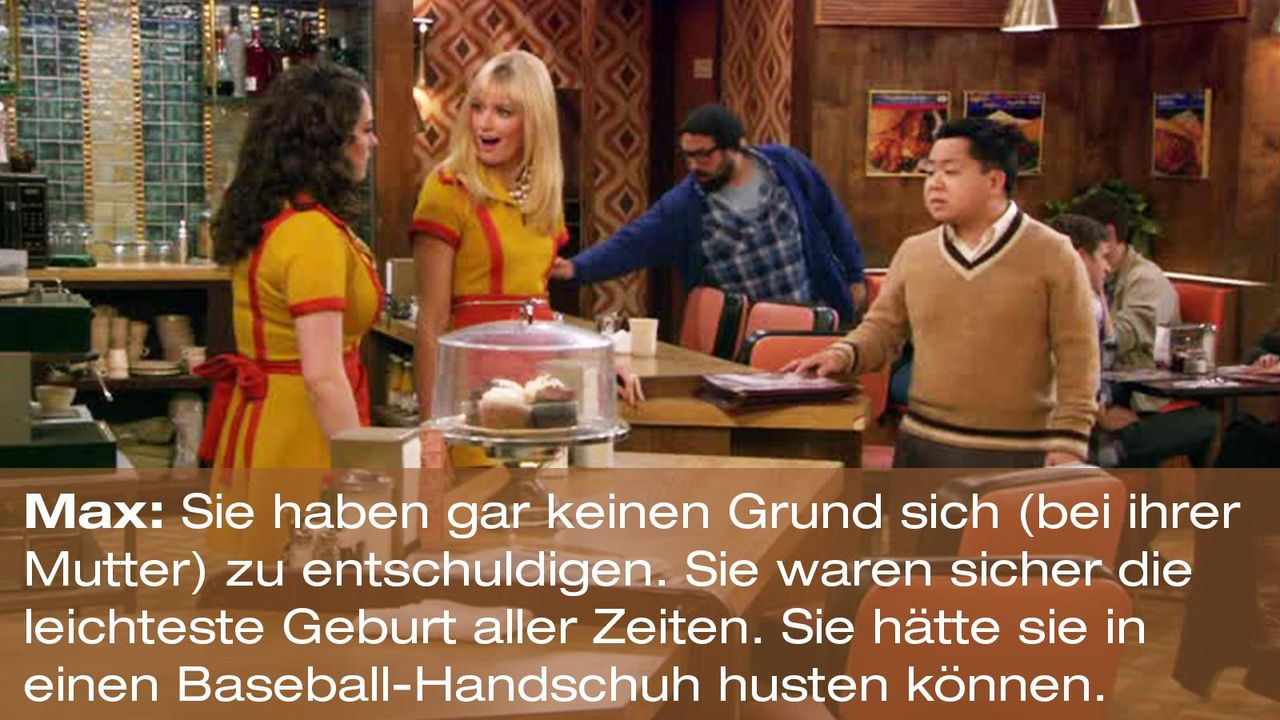 2-broke-girls-zitat-staffel1-episode-20-nebenwirkungen-max-baseballhandschuh-warnerpng 1600 x 900 - Bildquelle: Warner Brothers Entertainment Inc.