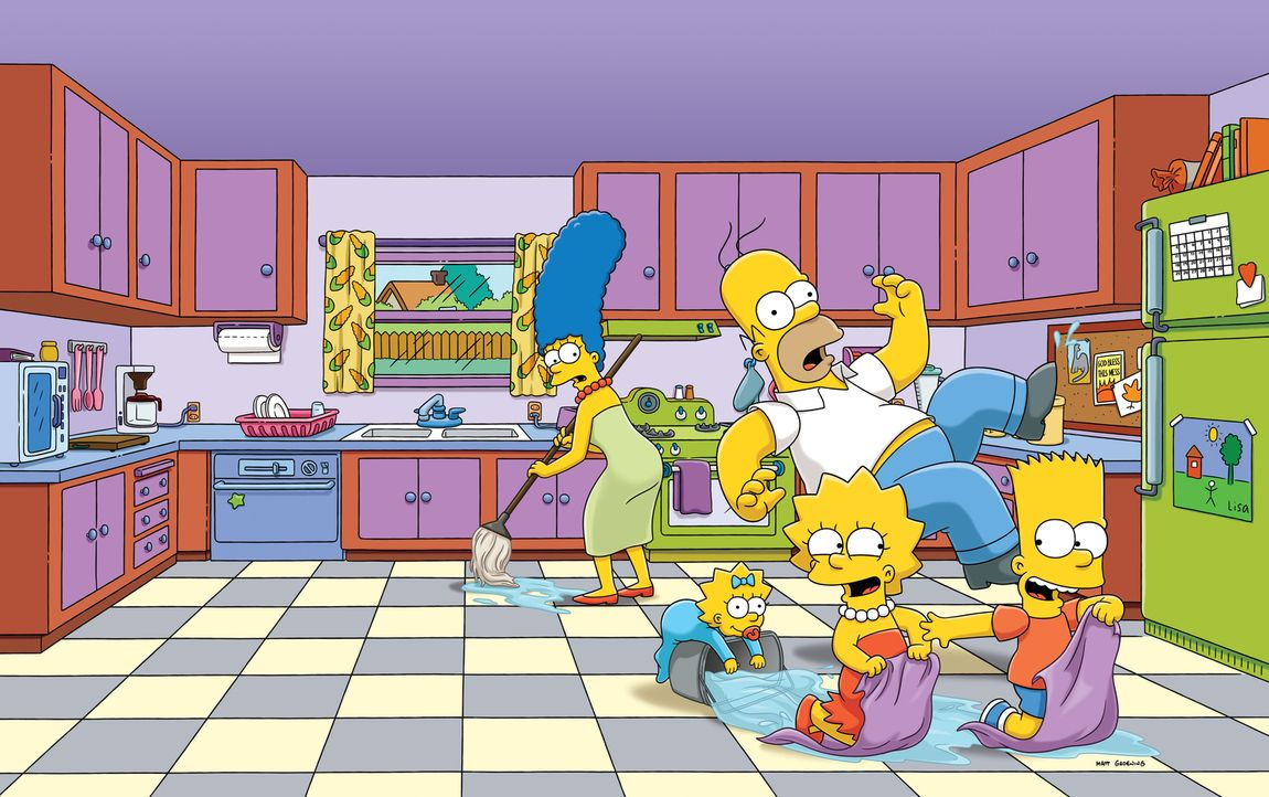 (26. Staffel) - Eine ganz besondere Familie: Maggie (2.v.l.), Marge (l.), Homer (M.), Bart (r.) und Lisa Simpson (2.v.r.) ... - Bildquelle: 2014 Fox and its related entities. All rights reserved
